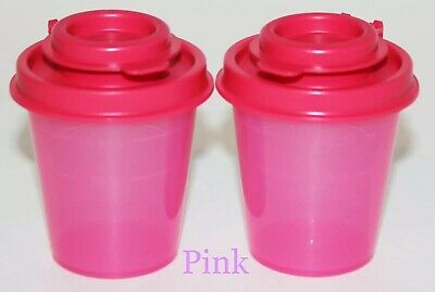 Tupperware Salt and Pepper Shakers Mini Midgets Pink, Travel Size, NEW