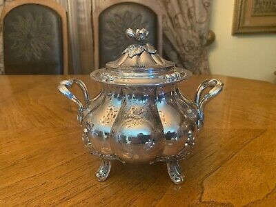 FRENCH ANTIQUE STERLING SILVER 950 SUGAR BOWL  19th CENTURY 620 gr