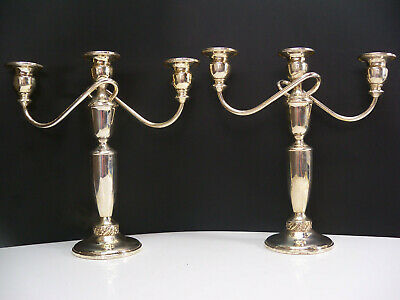 Pair Mueck-Cary Sterling Silver Floret Candelabra Candle Holders  1,213 grams