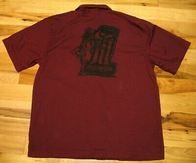 Harley-Davidson Red Short Sleeve Button Up Woman Number 1 Graphic Shirt Mens L