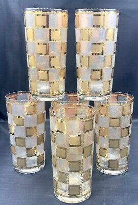 Rare Vintage Mid Century Gold Gilt Embossed Tall Tumblers Double Old Fashion