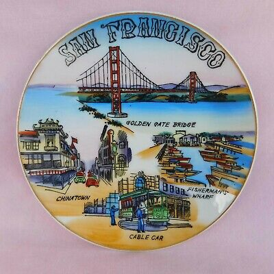 San Francisco, California, Souvenir Plate, Hand Painted, Vintage 1960s