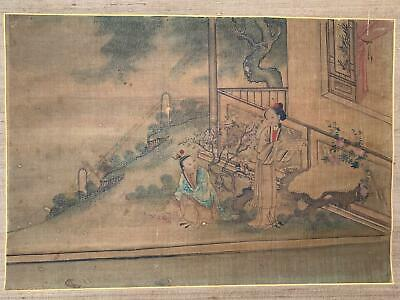 Chinese Qing Period Hand Painting On Silk Antique Scroll Erotic Scene
