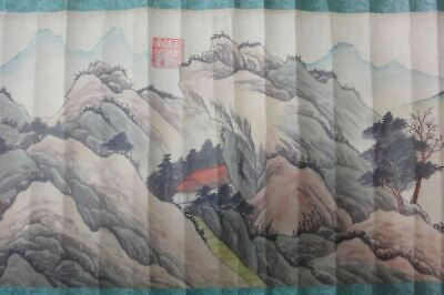 "Very Long Chinese Old Scroll Hand Painting Beautiful Landscape ""ShenZhou"" Marks"
