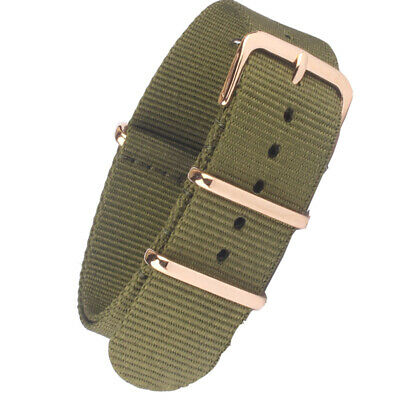 New Olive Green Nylon Watchband Watch Strap Band Sport Rose gold coated Buckle