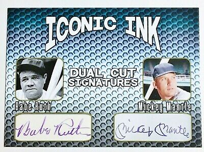 Iconic Ink Dual Cut Signatures Facsimile Autographed - Babe Ruth - Mickey Mantle