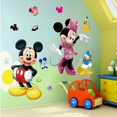 Sticker Mural Mickey Minnie Donald Poster Autocollant Decoration Chambre Enfant