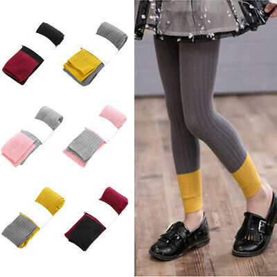 Children Kids Knitted Stitching Color Tight Pants Comfortable Soft Leggings