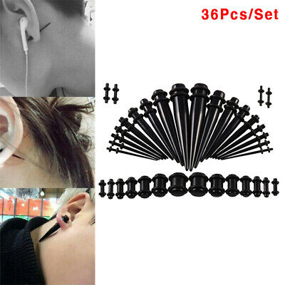 36* Acrylic Ear Gauge Stretching Kit Tapers Flesh Tunnels Plug Body PiercingLD