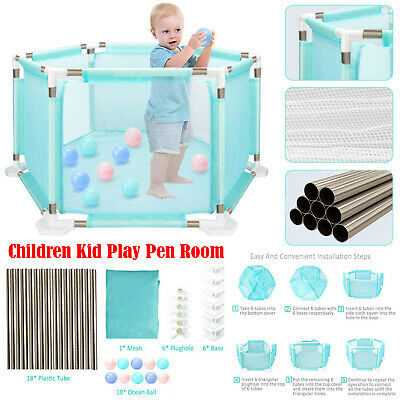 Child Baby Playpen Children Kid Play Pen Room 18 Poles/Bars Sided+Free 10*Balls
