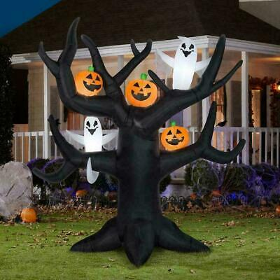 8 1/2 FT HALLOWEEN Airblown Inflatable Lighted DEAD TREE W/ GHOST PUMPKINS GEMMY