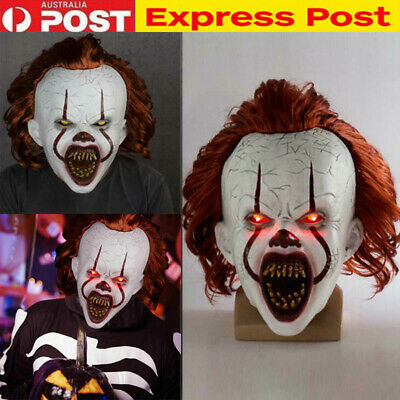 LED Pennywise Mask It Chapter Two Scary Joker Light Up Cosplay Halloween Mask AU