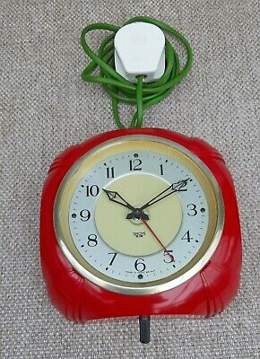 Rare SMITHS SECTRIC Art Deco RED Bakelite Electric Wall Clock
