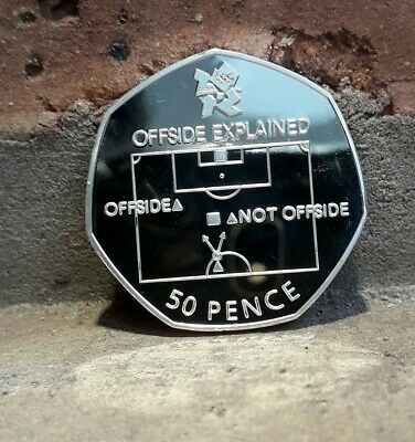 OFFSIDE RULE EXPLAINED OLYMPIC COIN SOUVENIR NEW 50p ALBUM FILLER 2011 READ MORE
