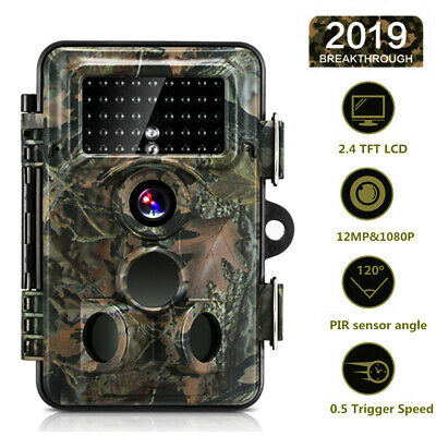 12MP Trail Camera IP66 Waterproof Outdoor Hunting Cam with IR Led Night Vision W