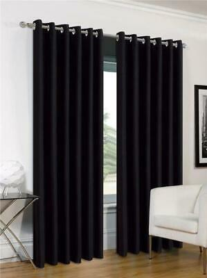"""Black curtains eyelet ring top faux silk 46 x 54"""" or  46 x 72"""" drop CLEARANCE"""