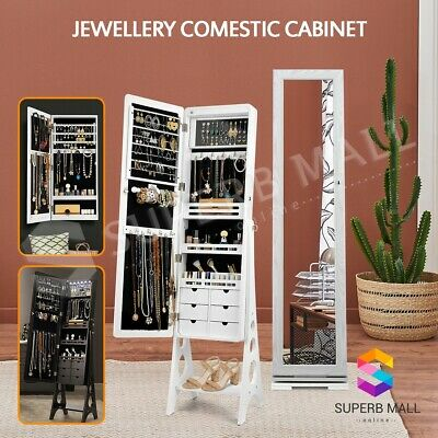 Mirror Jewellery Cabinet Makeup Storage Ear Ring Necklace Jewelry Box LED Light