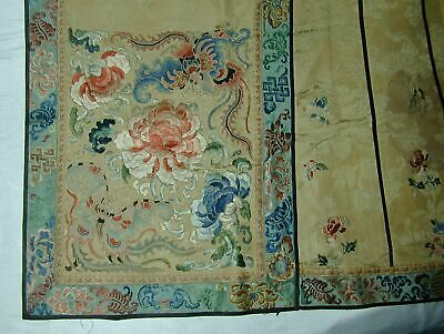 Antique Chinese Embroid Gold Floral w Bats Silk Damask Skirt Panel-Special