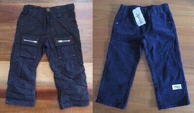 Two Boys Size 1 Navy Blue & Black Cargo Pants by SPROUT (New) & Pumpkin Patch