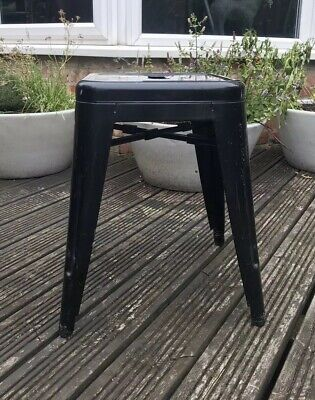 Tolix Style Black Laquer Metal Cafe Bistro Stool x4