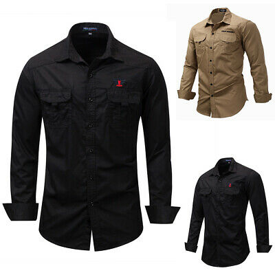 Men's Military Army Long Sleeve Shirts Outdoor Tactical Work Casual Shirt S-XL