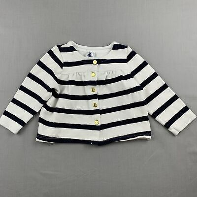 Girls size 2, Petit Bateau, navy & white stripe cotton cardigan, poppers, GUC