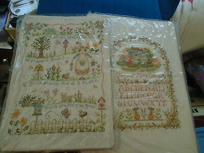 2 X Completed Cross Stitch Tapestries ( For Framing Or Cushions Covers)
