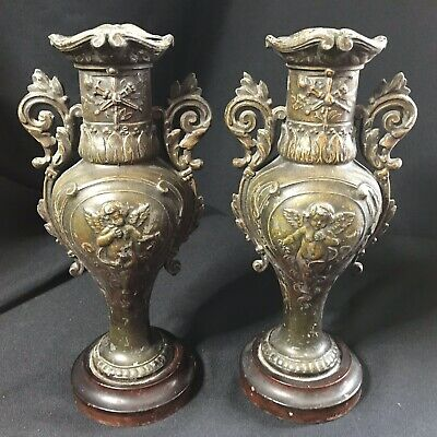 Antique Pair French Patinated Spelter Cherub Candlestick Vases On Wooden Plinths