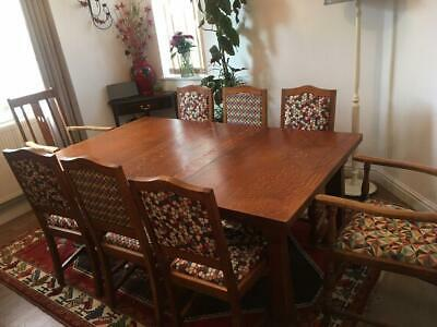 Antique Oak Dining Room Table and Chairs (Victorian)
