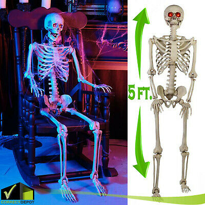 LIFE SIZE 5ft Halloween Skeleton Animated LED Lit Eyes Hanging Prop House Decor