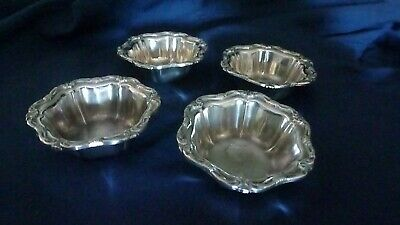 Set of 4 American Art Nouveau Period Nut Dishes by Birks marked Sterling Silver