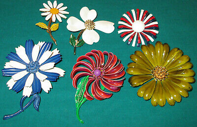 Retro Lot Flower Power Brooch Pins Vtg Designer Accessocraft Hedison 1960's 70's
