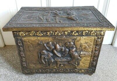 VINTAGE EMBOSSED BRASS COAL / LOG BOX ON CASTERS BY J.Co