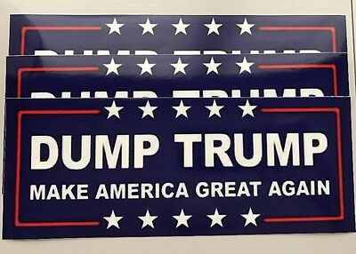 (3) Anti Donald Trump Dump Trump 8.0x3.2 Window Bumper Vinyl Sticker Decal
