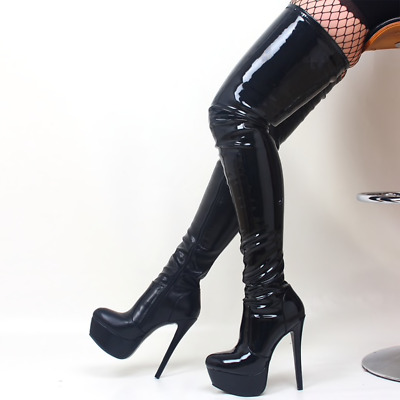 Extreme fetish stiletto 6 inch high heel over the knee PU patent boots UK3-13