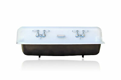 Large Antique Inspired Farm Sink Black Cast Iron Trough Sink Package w/Faucet