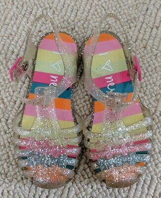 Next Girls Jelly Shoes Sandals Size 8 rainbow glitter