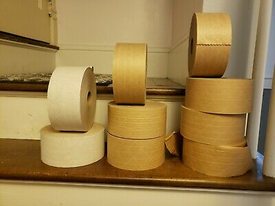 9 ROLLS  3 inch x 375ft Reinforced Gummed Kraft Paper Tape Water Activated