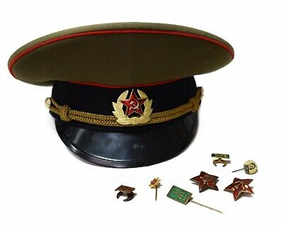 Vintage Soviet USSR Army Military Hat/ Cap Red Star with assorted Badge Pins
