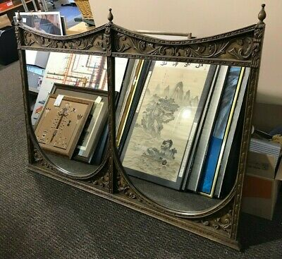 Vintage Carved Wood, Double Bar Mirror