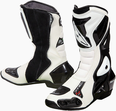Prexport Sonic Evo White Leather Race Sport Motorcycle Boots New
