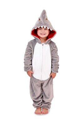 Boys Shark Design Cosy Grey Fleece Novelty Hood All In One - UK Sizes Age 5-10