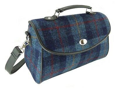 Femmes Authentique Harris Tweed Long Sac à Main Carreaux Bleu LB2106 col 14