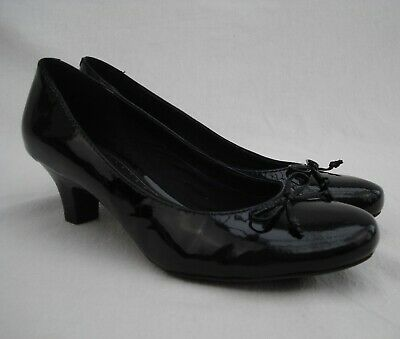 Clarks Black Patent Leather Court Shoes Size 7 Bow Work Ballet Slip On Smart