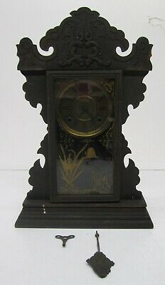 Antique Vtg Welch Shelf Mantle Clock Wood Butterfly Reverse Painted Glass As Is
