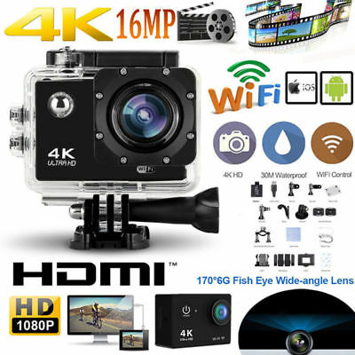 New 1080P HD Sports WiFi Action Camera Black Action Camcorder 30meter Waterproof