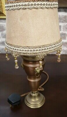 Antique Copper And Brass Lamp with Lions Heads & Designer Vintr Suede Lampshade
