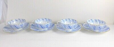 Antique Cauldon Ware Lot of 4 Teacup and Saucer Sets Blue Feather Floral England