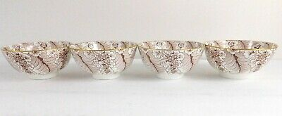 Antique Cauldon Ware Set of 4 Brown Feather Floral Low Teacups English China