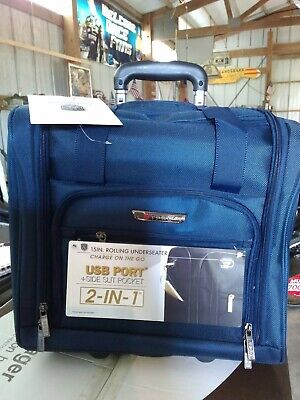 """TPRC 15"""" ROLLING CARRY ON UNDERSEAT SUITCASE BLUE with USB port"""